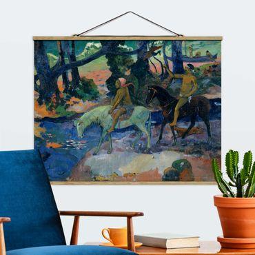 Stoffbild mit Posterleisten - Paul Gauguin - Die Flucht - Querformat 3:4
