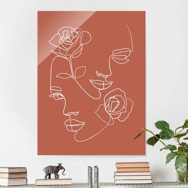 Glasbild - Line Art Gesichter Frauen Rosen Kupfer - Hochformat 4:3