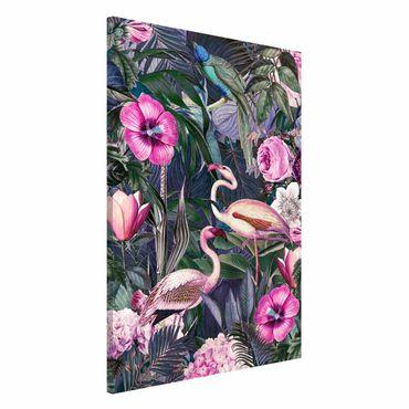 Magnettafel - Bunte Collage - Pinke Flamingos im Dschungel - Memoboard Hochformat 3:2