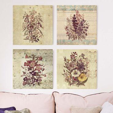 Leinwandbild 4-teilig - Vintage Blumen Sammlung