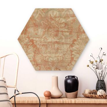 Hexagon Bild Holz - Ornamentgewebe I