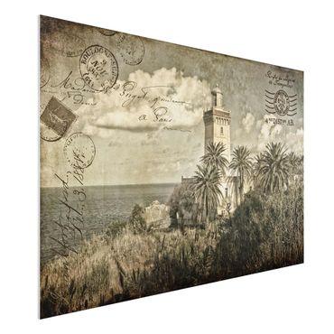 Forex Fine Art Print - Vintage Postkarte mit Leuchtturm und Palmen - Querformat 2:3
