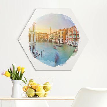 Hexagon Bild Alu-Dibond - Wasserfarben - Canale Grande Blick von der Rialtobrücke Venedig