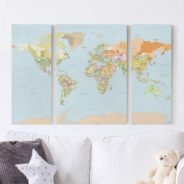 Leinwandbild 3-teilig - Politische Weltkarte - Tryptichon