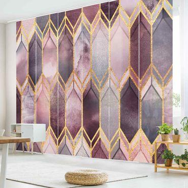 Schiebegardinen Set - Elisabeth Fredriksson - Glasmalerei geometrisch Rosé Gold - 6 Flächenvorhänge