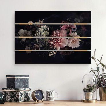 Holzbild - Blumen mit Nebel auf Schwarz - Querformat 2:3