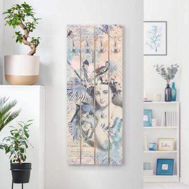 Wandgarderobe Holz - Vintage Collage - Exotische Schönheit - Haken chrom Hochformat