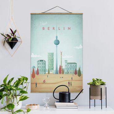 Stoffbild mit Posterleisten - Reiseposter - Berlin - Hochformat 3:2