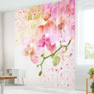 Schiebegardinen Set - Aquarell Blumen Orchideen - Flächenvorhänge