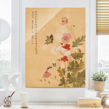 Glasbild - Yuanyu Ma - Mohnblumen und Schmetterlinge - Hochformat 4:3