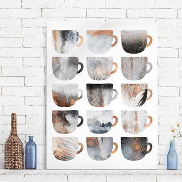 Glasbild - Graue Kaffeetassen mit Gold - Hochformat 4:3