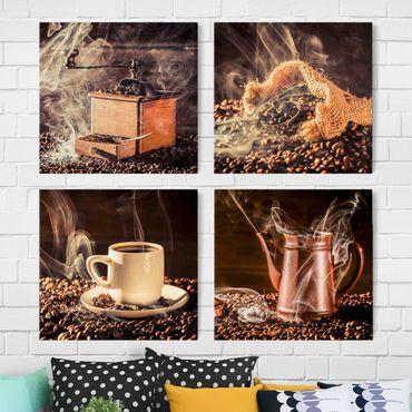 Leinwandbild 4-teilig - Kaffee - Dampf