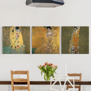 Leinwandbild 3-teilig - Gustav Klimt - Portraits - Quadrate 1:1