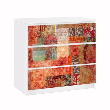 Möbelfolie für IKEA Malm Kommode - Klebefolie Schriftmuster