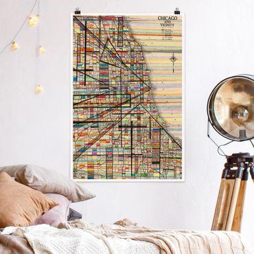 Poster - Moderne Karte von Chicago - Hochformat 3:2
