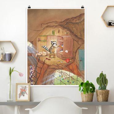 Poster - Wassili Waschbär - Wassili am Küchenschrank - Hochformat 3:4