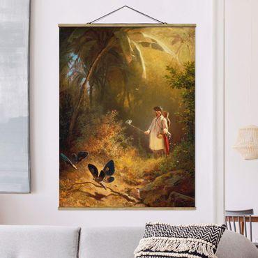Stoffbild mit Posterleisten - Carl Spitzweg - Der Schmetterlingsfänger - Hochformat 4:3