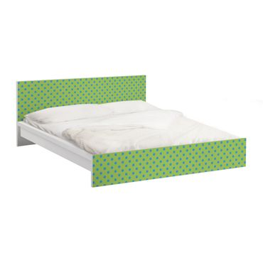 Möbelfolie für IKEA Malm Bett niedrig 160x200cm - Klebefolie No.DS92 Punktdesign Girly Grün