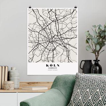 Poster - Stadtplan Köln - Klassik - Hochformat 3:4