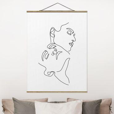Stoffbild mit Posterleisten - Line Art Frauen Gesichter Weiß - Hochformat 4:3