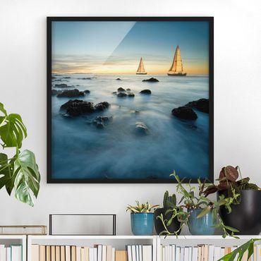 Bild mit Rahmen - Segelschiffe im Ozean - Quadrat 1:1