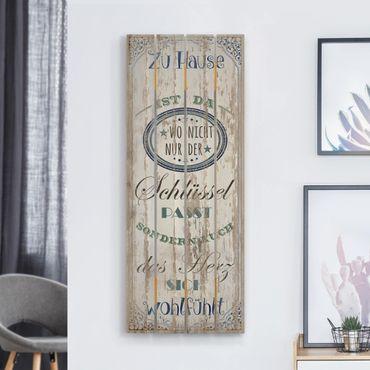 Holzbild - Zu Hause ist da - Hochformat 5:2