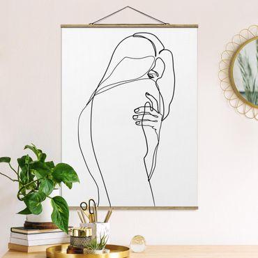 Stoffbild mit Posterleisten - Line Art Frauenakt Schulter Schwarz Weiß - Hochformat 4:3