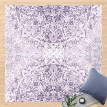 Vinyl-Teppich - Mandala Aquarell Ornament violett - Quadrat 1:1