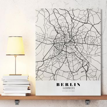 Leinwandbild - Stadtplan Berlin - Klassik - Hochformat 4:3