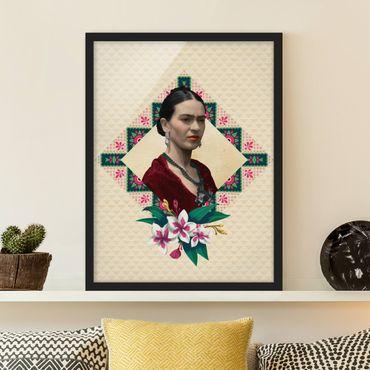 Bild mit Rahmen - Frida Kahlo - Blumen und Geometrie - Hochformat 3:4