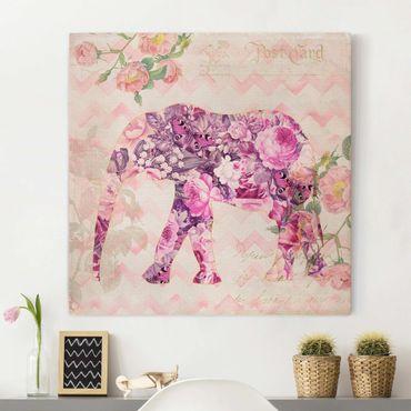 Leinwandbild - Vintage Collage - Rosa Blüten Elefant - Quadrat 1:1