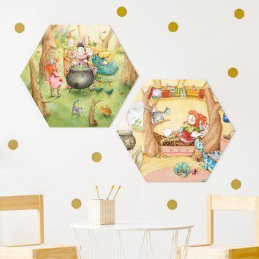 Hexagon Bild Alu-Dibond 2-teilig - Frida's Hexen Geschichten
