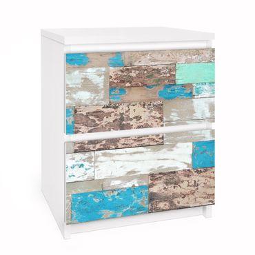 Möbelfolie für IKEA Malm Kommode - Selbstklebefolie Maritime Planks