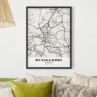 Bild mit Rahmen - Stadtplan Düsseldorf - Klassik - Hochformat 3:4