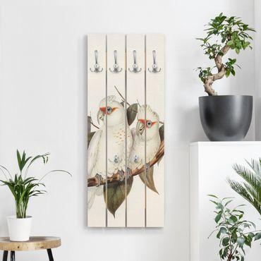 Wandgarderobe Holz - Vintage Illustration Weißer Kakadu - Haken chrom Hochformat