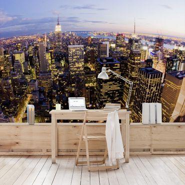 Fototapete New York Skyline bei Nacht