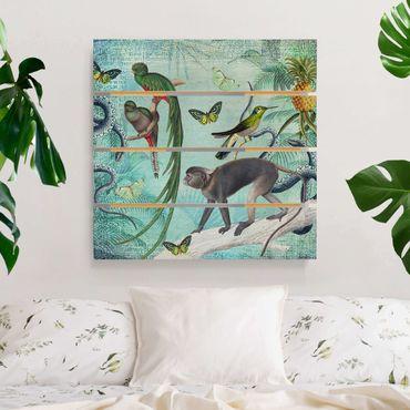 Holzbild - Colonial Style Collage - Äffchen und Paradiesvögel - Quadrat 1:1