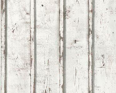 A.S. Création Streifentapete Best of Wood`n Stone 2nd Edition in Creme, Grau, Weiß