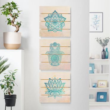 Holzbild 3-teilig - Mandala Hamsa Hand Lotus Set Gold Blau - Quadrate 1:1