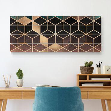 Holzbild - Elisabeth Fredriksson - Türkis Rosé goldene Geometrie - Querformat 2:5