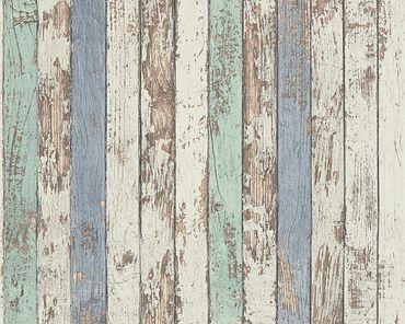 A.S. Création Streifentapete Best of Wood`n Stone 2nd Edition in Blau, Braun, Weiß