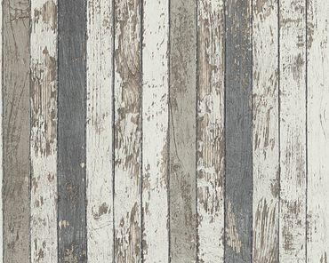 A.S. Création Streifentapete Best of Wood`n Stone 2nd Edition in Braun, Grau, Weiß