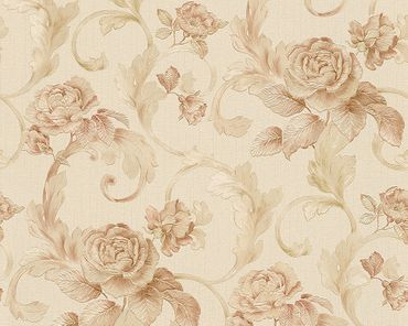 Architects Paper Mustertapete Nobile in Creme, Metallic, Rosa