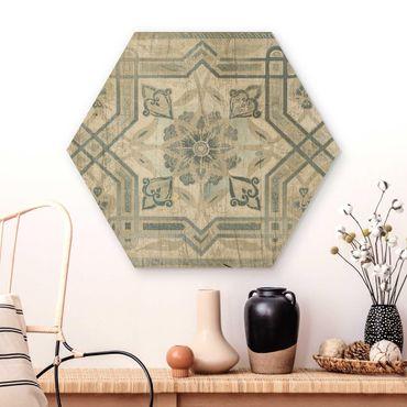 Hexagon Bild Holz - Holzpaneel Persisch Vintage III