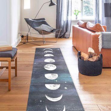 Vinyl-Teppich - Mondphasen in Aquarell - Panorama Hoch 1:3