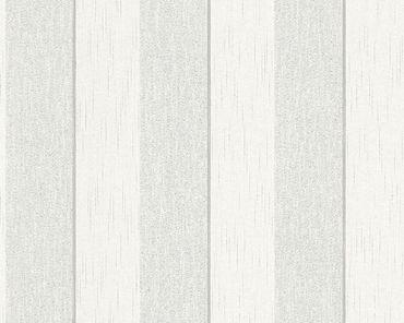 Architects Paper Streifentapete Tessuto 2 in Grau, Weiß