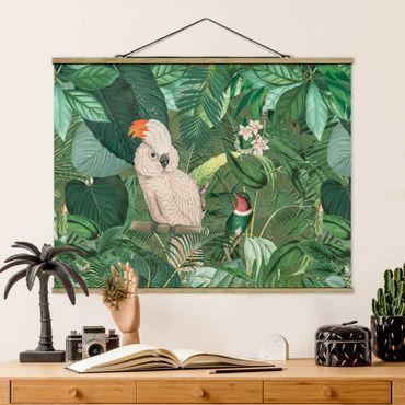 Stoffbild mit Posterleisten - Vintage Collage - Kakadu und Kolibri - Querformat 3:4