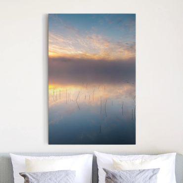 Leinwandbild - Sonnenaufgang schwedischer See - Hochformat 4:3