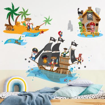 Wandtattoo - Piratenschiff Schatzinsel Mega Set