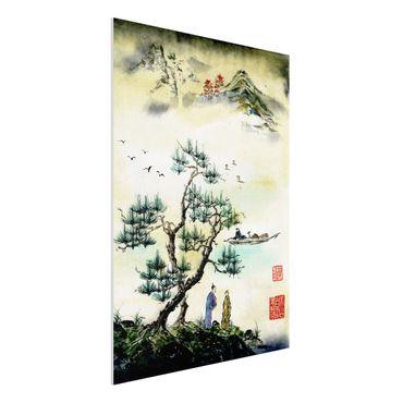 Forex Fine Art Print - Japanische Aquarell Zeichnung Kiefer und Bergdorf - Hochformat 4:3